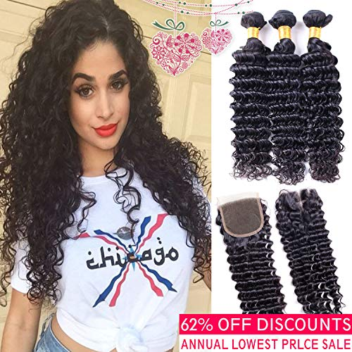 (Brazilian Deep Wave Hair 3 Bundles With Closure Grade 8a Unprocessed Brazilian Virgin Deep Wave Curly Human Hair Weave Extensions With Lace Closure 4x4 Middle Part (16 18 20 +14 closure))