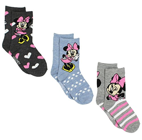 Minnie Mouse Girls 3 pack Socks (6-8 Girls (Shoe: 10-4), Minnie Grey/Blue) for $<!--$9.99-->