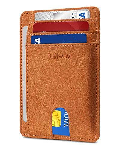 Slim Minimalist Leather Wallets for Men & Women - Meadow Yellowish Brown