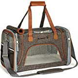 soft sided pet carrier - Airline Approved Soft Sided Pet Carrier by Mr. Peanut's, Low Profile Travel Tote with Fleece Bedding, Premium Zippers & Metal Safety Clasp, Under Seat Compatibility, Perfect for Cats and Small Dogs