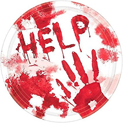 Amscan Bloody Round Dessert Paper Plates | 36 Count | Great for Halloween Party Supplies -