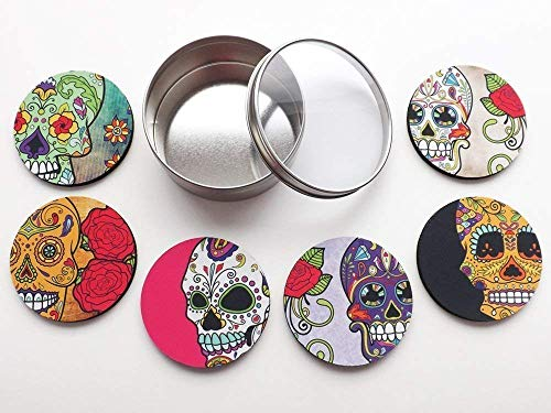 Dia de los Muertos set of 4 or 6 Coasters Day of the Dead gift 3.5 inch halloween sugar skulls home -