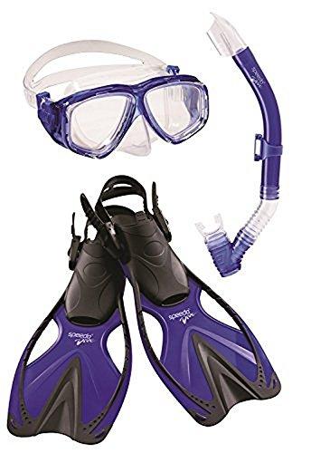 Speedo Kids' Adventure Mask/Snorkel/Fins Set, Blue, Large/X-Large (Speedo Set Snorkel Adult)