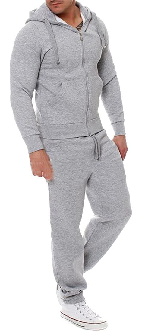 Grey Fubotevic Mens 2 Pieces Suits Hooded Fleece Solid Solid Solid color Athletic Jacket & Sweatpants Jogger Tracksuit Sportswear e68a8b