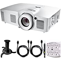 Optoma HD39Darbee Ultra Home Cinema Projector w/ DarbeeVision Enhanced Technology + Ceiling Bracket for Projector (Black) + 2x HDMI Cable + SurgePro 6-Outlet Surge Adapter + Lens Cleaning Pen