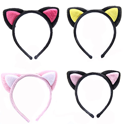 2PCS Cute Cartoon Costume Party Headband--Sexy Plush Headband Bunny Cat Ears Hairband for Xmas Halloween Party Random Color