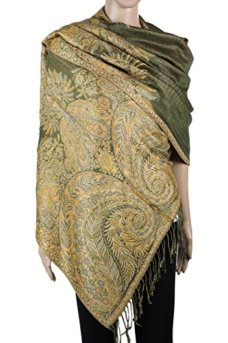(Achillea Luxurious Big Paisley Jacquard Layered Woven Pashmina Shawl Wrap Scarf Stole (Olive Green))