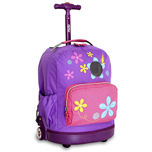 DH Kids Purple Pink Floral Pattern Rolling Backpack, Beautiful All Over Pretty Flowers Print Suitcase, Girls School Duffel with Wheels, Wheeling School Bag, Lightweight Softsided, Fashionable by DH
