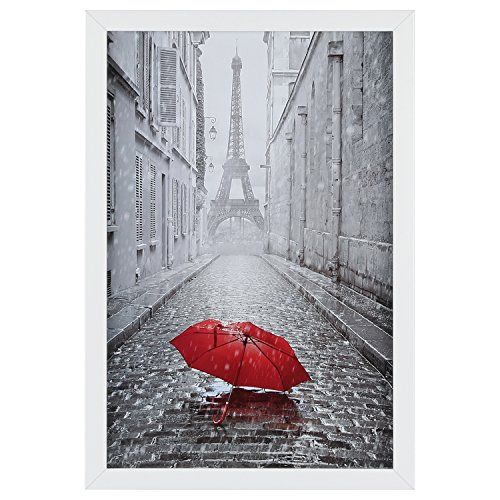 One Wall 11x17 White Picture Frame Tempered Glass, Wood Photo Poster Frame, Wall Mounting Material Included
