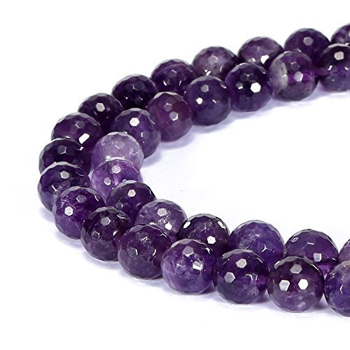 Faceted Amethyst Bead Necklace - jennysun2010 Natural Amethyst Gemstone 8mm Faceted Round Loose 50pcs Beads 1 Strand for Bracelet Necklace Earrings Jewelry Making Crafts Design Healing