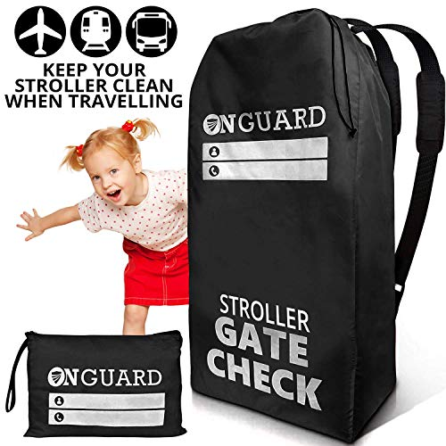 OnGuard Stroller Travel Bag for Double Strollers – Waterproof Rip Resistant Polyester Compact – Stroller Bag Cover Accessories, Stroller Bag for Airplane, Gate Check Bag for Baby Stroller