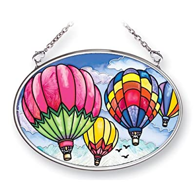 Amia 41461 Up and Away Hot Air Balloons 4-1/4 by 3-1/4-Inch Oval Sun Catcher, Small: Home & Kitchen