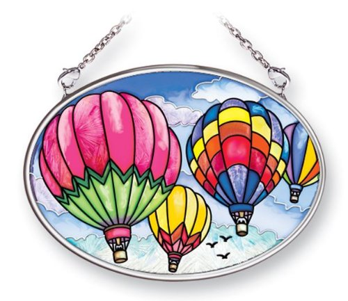 Amia 41461 Up and Away Hot Air Balloons 4-1/4 by 3-1/4-Inch Oval Sun Catcher