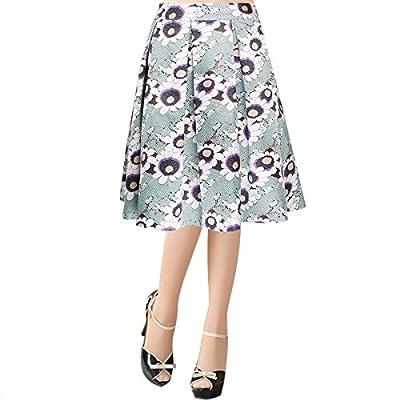 jntworld 2016 Printed Prom Midi Full Skirt Knee Length in Co-Ordinate Texture