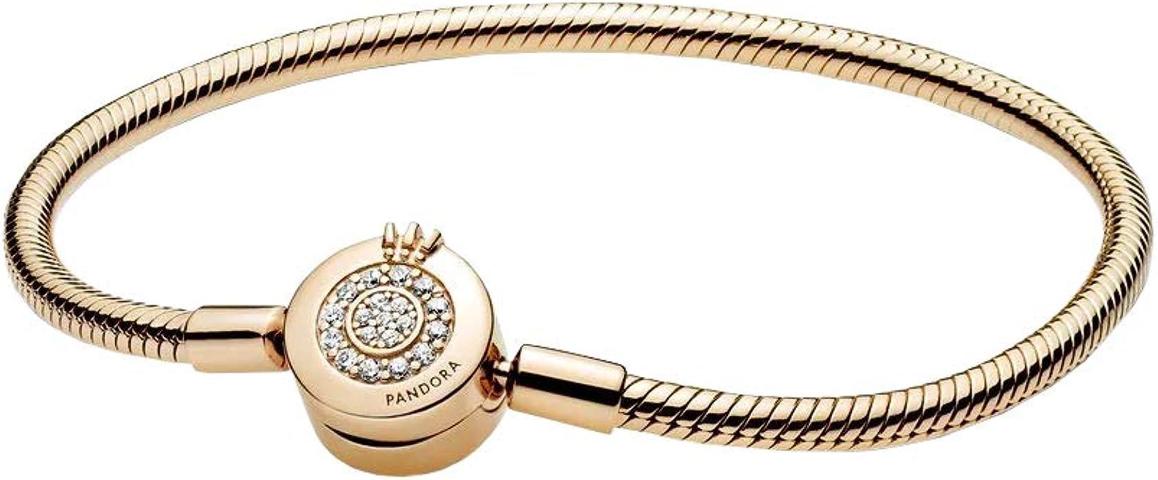 PANDORA Pandora Moments Sparkling Crown O Snake Chain Bracelet, Clear CZ  18k Gold Plated PANDORA Shine Collection Charm Bracelet