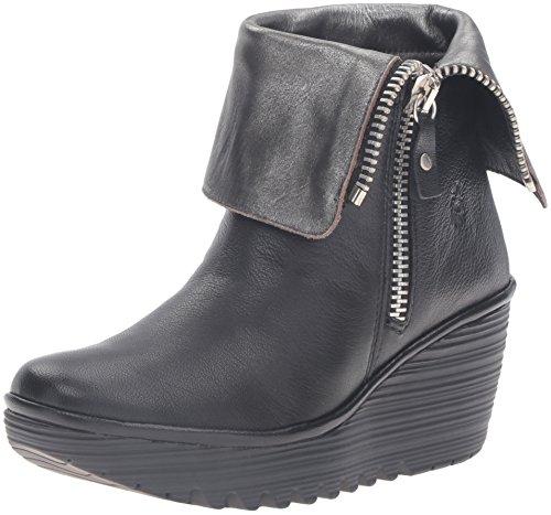 FLY London Women's Yex668fly Ankle Bootie, Black/Ant Silver Mousse/Bardana, 37 EU/6.5-7 M - Select Shop London