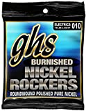 GHS Strings BNR-L Burnished Nickel Rockers, Polished Pure Nickel Electric Guitar Strings, Light (.010-.046)