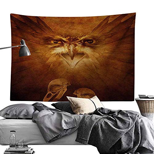 MaureenAustin Art Tapestry,Animal,Hawk Eagle Bird Face and Claws with Feathers Wings in Fire Like Background Art Print,Brown Tapestries for Living Room Bedroom Dorm60 x60 (Best Wings In Austin)