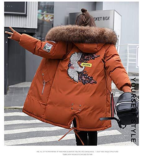 Parkas Invierno Caliente Chaqueta Khaki Piel Espesar Moda Manga Pájaro De Bordados Elegantes Hipster Outdoor Larga Pluma Con Mujer Capucha rgxCwqr6