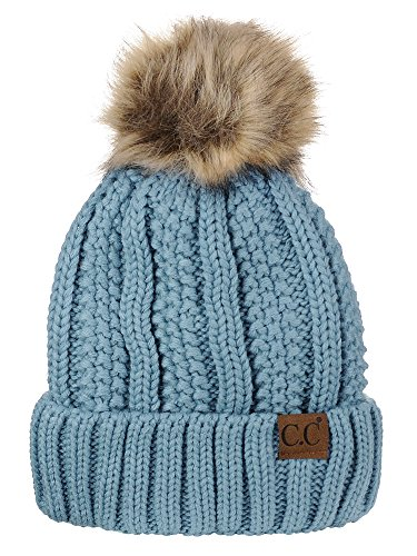 Beanie Womens Cable Knit - C.C Thick Cable Knit Faux Fuzzy Fur Pom Fleece Lined Skull Cap Cuff Beanie,Denim