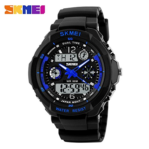 48mm Date Chronograph - ETbotu Waterproof Fashion Men LCD Digital Stopwatch Chronograph Date Casual Sports Running Wrist Watch Blue