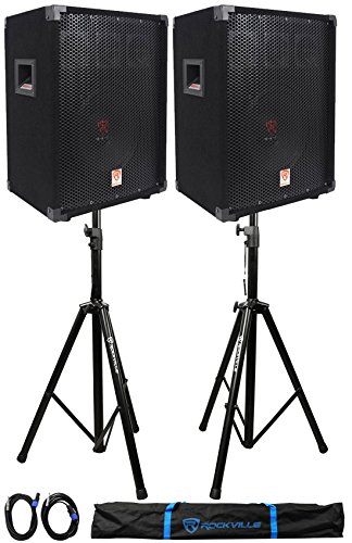 ((2) Rockville RSG10 10 400 Watt 2Way 8-Ohm Passive DJ PA Speaker +Stands +Cables)