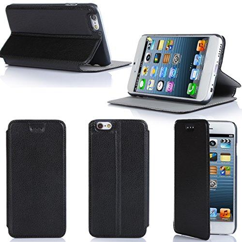 Ultra Slim Tasche Leder Style iPhone 6 Plus 5.5 Hülle Schwarz Cover mit Stand - Zubehör Etui smartphone 2014 Apple iPhone 6 Plus 5.5 Flip Case Schutzhülle (Handy tasche folio PU Leder, Black) - Brand