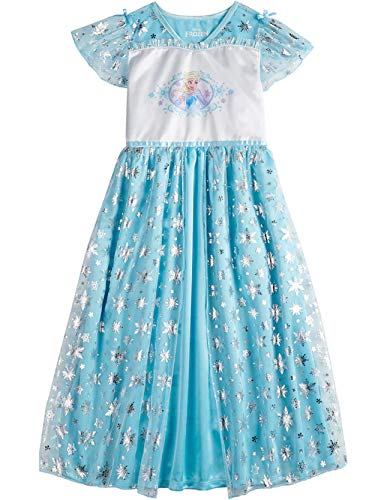 Disney Frozen Elsa Big Girl's Fantasy Gown Nightgown Pajamas (6, Blue/White)