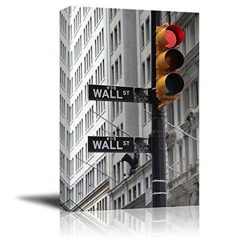 Black and White Photograph with Pop of Color on the Traffic Lights in Wall Street