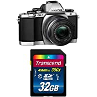 Olympus OM-D E-M10 Compact System Camera with 14-42mm 2RK lens (Silver) w/ Memory Card