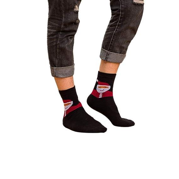 Miss Fortan Calcetines de los hombres de Navidad transpirable de compresión deportivo running elástica algotón negro