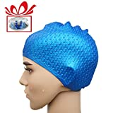 IceHacker Premium Silicone Unisex Swim Cap with Unique Water Drop on Surface Wrinkle-free, Lightweight and Durable + FREE Nose Clip + Water Ear Plugs