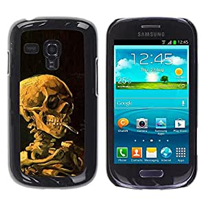 FECELL CITY // Duro Aluminio Pegatina PC Caso decorativo Funda Carcasa de Protección para Samsung Galaxy S3 MINI NOT REGULAR! I8190 I8190N // Smoke Black Deep Meaning Death Metal