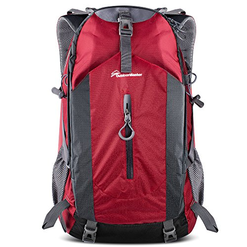 OutdoorMaster Hiking Backpack 50L - Weekend Pack w/Waterproof Rain Cover & Laptop Compartment - for Camping, Travel, Hiking (Red/Grey)