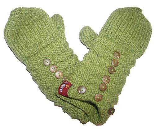 1414 MT Women's Hand Knit Wool Fleece Kumari Mitten Nepal [Green]