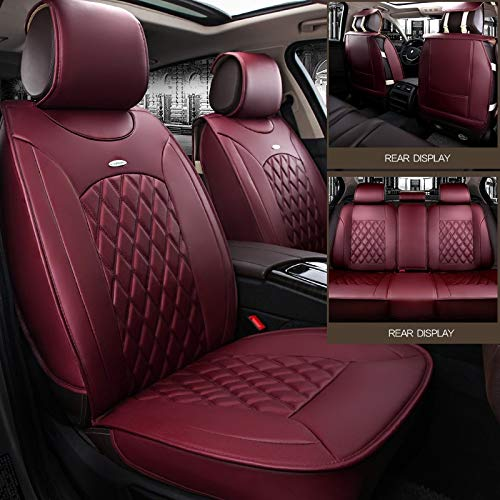 Skysep Red Wine Full Set Universal Fit 5 Seats Car Surrounded Solid Color Waterproof Leather Car Seat Covers Protector Adjustable Removable Auto Seat Cushions with 2 Waist Pillows 2 Headrest Pillows by Skysep (Image #4)