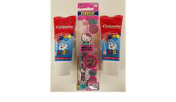 Amazon.com: Hello Kitty Toothbrush and Kids Colgate Toothpaste Bundle - One Toothbrush and Two Tubes of Toothpaste - 3 Item Bundle: Health & Personal Care