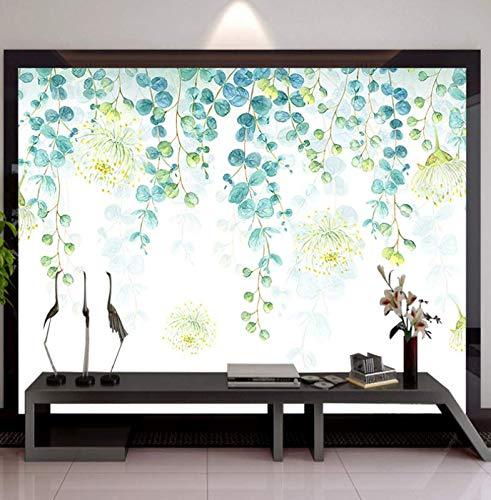 - Modern Minimalist Nordic Wallpaper Small Fresh Leaves Hand-Painted Flower Vine, 400280cm