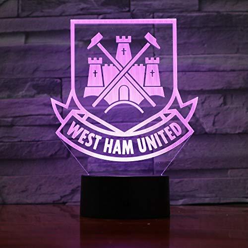 QIANDONG1 West Ham United Football Club 3D Optical Illusion Mood Light 7 Colors Change Luminaria Lava Lamp Kids Night Light Novelty Gifts