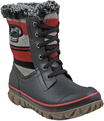 Bogs Womens Arcata Sripe Snow Boot Cherry Size 9