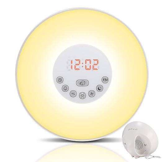 63 opinioni per Sveglia Luce GRDE® Sveglia da Comodino, Radiosveglia, Wake-up Light con 7 Suoni,