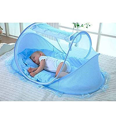 LOHOME Zippered Baby Mosquito Net - Free-installation Crib Mosquito Bed Portable Travel Baby Tent with Zipper Door Folding Baby Cots for 0-18 Month Baby Travel Bed