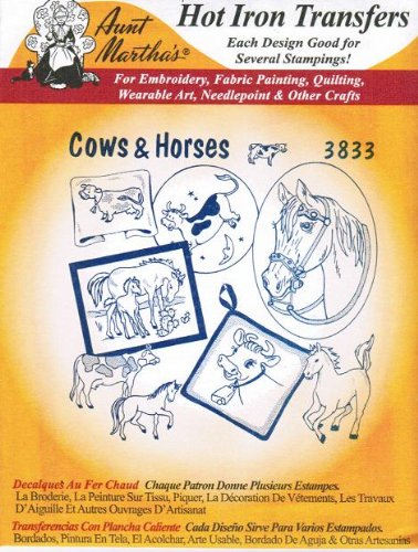 - Cows & Horses Aunt Martha's Hot Iron Embroidery Transfer