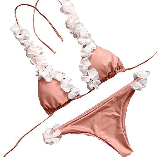 Tankini Slip Bagnarsi Donna Kootk Nuoto Spiaggia Due Costume Costumi Bagno Impostato Ruffle Sexy Top S Suit Pezzo Bikini E Swimsuit Rosa Da EqCC0wO
