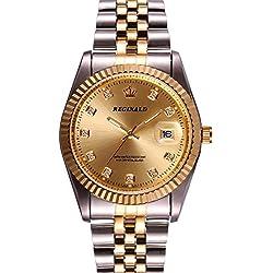 Men's Luxury Stainless Steel Band Mineral MIrror Calendar Luminous Quartz Waterproof Gold Watch