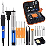 Full Set 60W 110V Electric Soldering Iron Kit with Adjustable Temperature Welding Iron, 5pcs Tips, Desoldering Pump, 2pcs Tweezers, Tin Wire Tube, Stand and 6pcs Aid Tools with Carry Bag