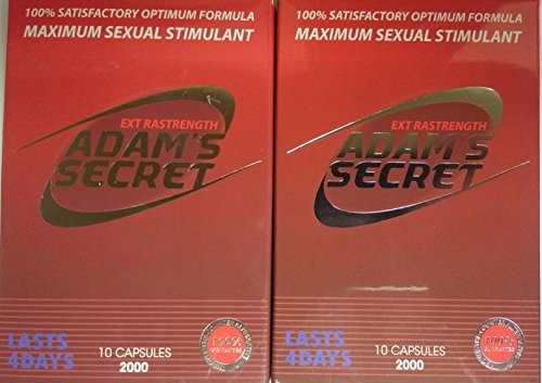Adams Secret 2000 100% Natural Most Effective Male Libido Performance Enhancement Energy, and Endurance!10 Pills Per Pack (2 Pack) 10 Capsules per Pack- 20 Pills in Total