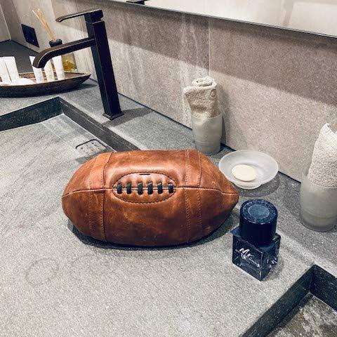 SID /& VAIN Trousse de Toilette Football am/éricain Cuir v/éritable Isaac n/écessaire de Voyage M Homme Poche de Toilette Marron