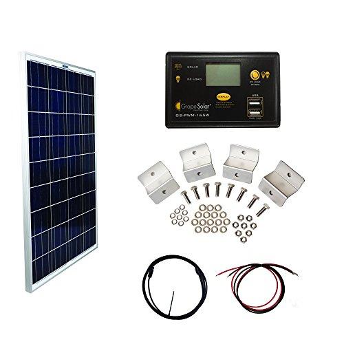 Price comparison product image Grape Solar GS-100-BASIC Basic Off Grid Polycrystalline Solar Panel Kit,  100W