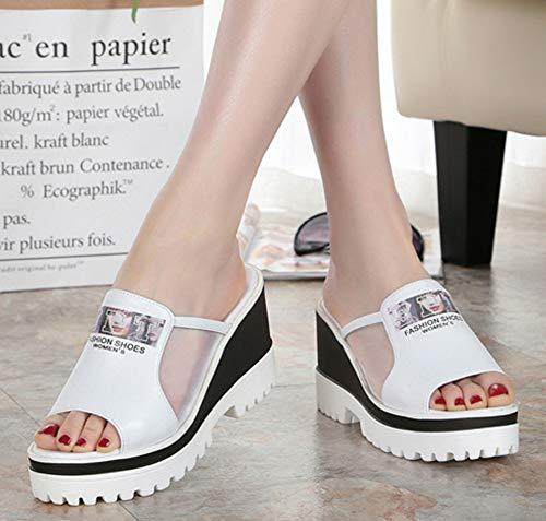Femme Mules Blanc Easemax Plateforme à Simple Enfiler Fermeture ZwxqAY8d